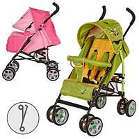 Коляска детская прогулочная,глубокая крыша, чехол, 2 цвета: розовый, зел-желт, 8 колес (7д)