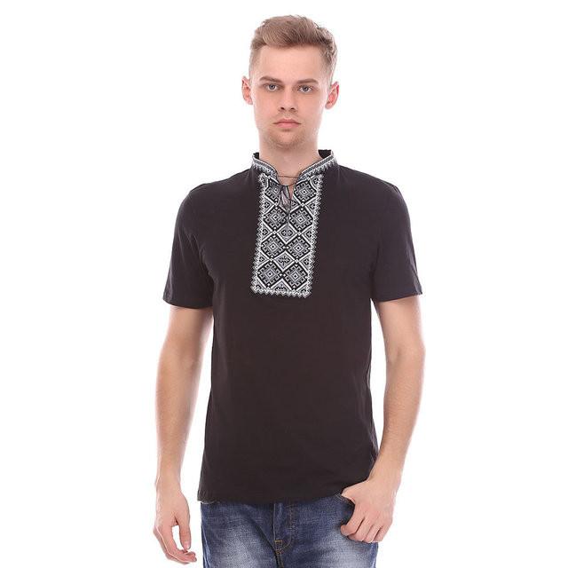 Чорна футболка з сірої вишивкою