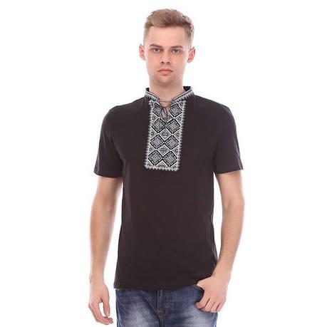 Чорна футболка з сірої вишивкою, фото 2