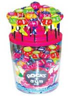 Леденцы Rocks - Сосательные конфеты на палочке со жвачкой 16г В блочке 100 шт  - 1,5 грн/шт