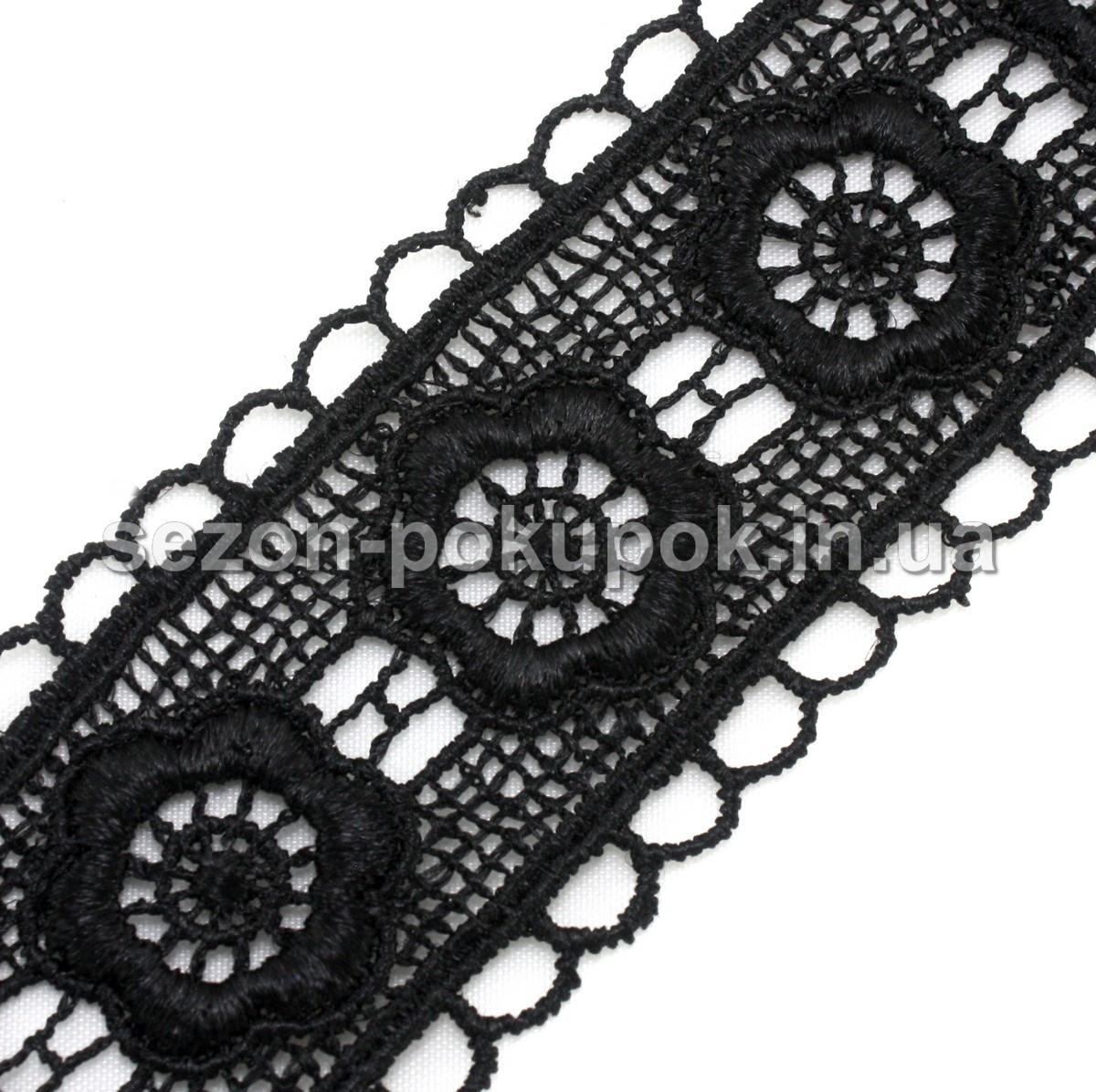 Кружево макраме с кордом Код 3338, ширина 3,3см (цена за 9,5ярдов).Цвет - черный
