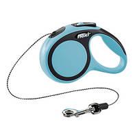 Flexi NEW COMFORT Поводок-рулетка для средних собак, 8м (трос), до 20 кг, синий