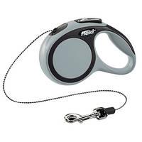 Flexi NEW COMFORT Поводок-рулетка для средних собак, 5м (трос), до 20 кг, серый