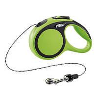 Flexi NEW COMFORT Поводок-рулетка для средних собак, 8м (трос), до 20 кг, зеленый