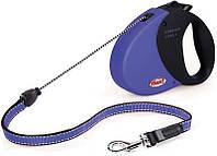 Flexi COMFORT LONG 1 SMALL Поводок-рулетка для мелких собак, 5м (трос), до 12 кг, синий