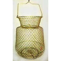 Садок рыболовный металлический 2510, с ручкой, золотого цвета, диаметр 25 см, ячейка 10 мм, прочный