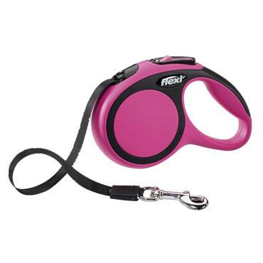 Поводок-рулетка Flexi NEW COMFORT S лента (5 м; до 15 кг), розовый
