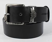 Кожаный ремень джинсовый Giorgio Armani 8008-404 черный 40 мм, итальянская кожа