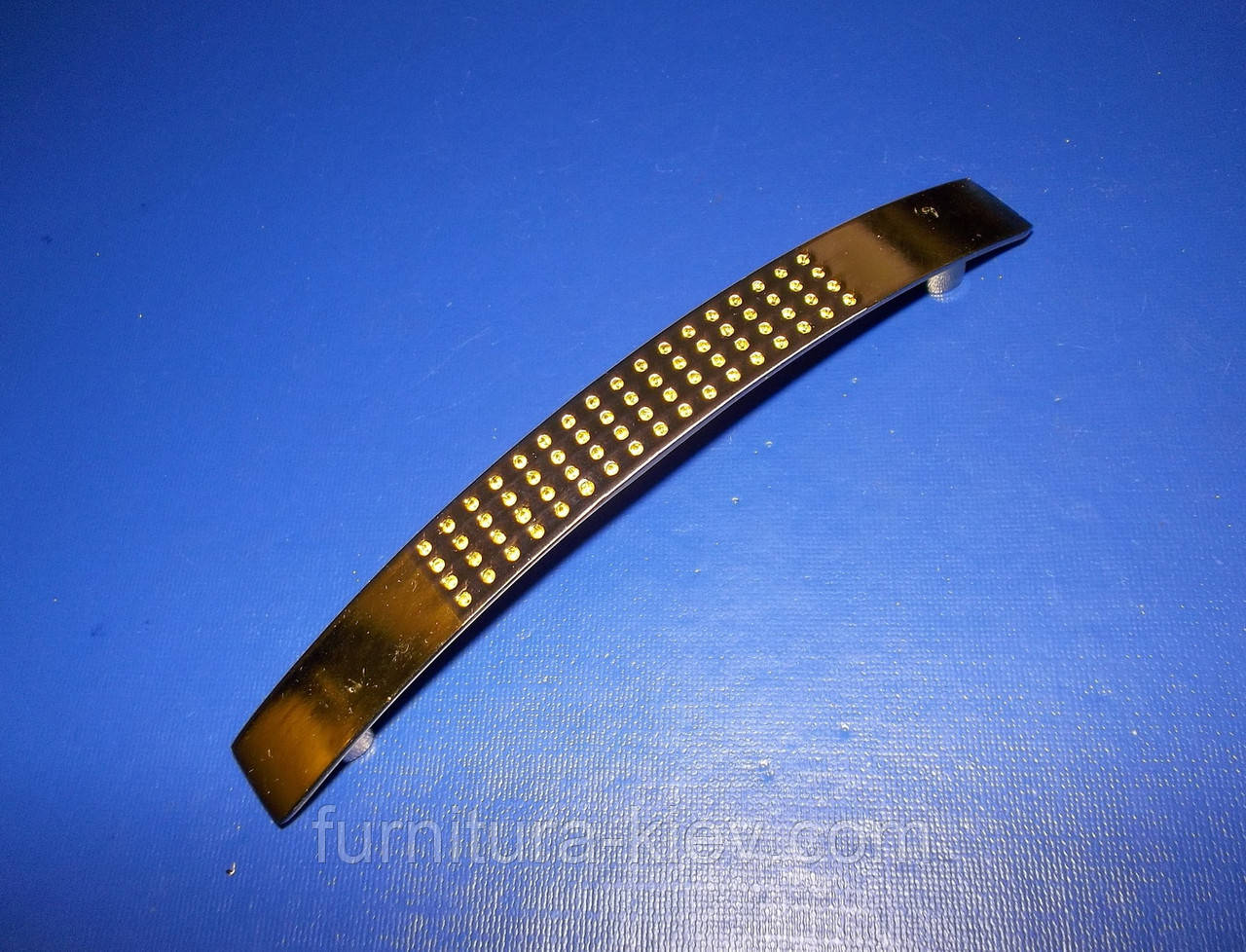 Ручка крапка на ножке 96мм сатин - золото