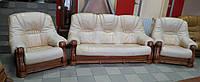 Кожаный комплект мягкой мебели, кожаный диван, шкіряний диван, диван