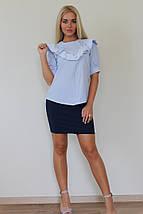"""Хлопковая женская блуза в полоску """"Lelea"""" с кружевом и оборкми, фото 3"""