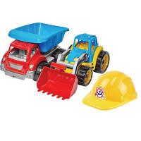 Игрушечный набор Машинк+Трактор+Каска Малыш-строитель 3, Технок,,3954