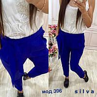 Синие модные стильные укороченные женские брюки  с защипами с завышенной талией 2017