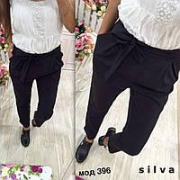 Черные модные стильные укороченные женские брюки  с защипами с завышенной талией 2017
