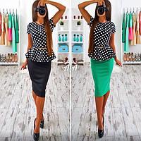 Костюм женский юбочка + блузочка с баской и пояском