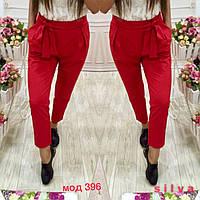 Красные модные стильные укороченные женские брюки  с защипами с завышенной талией 2017