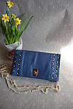 Сумка, клатч на цепочке с блоками синий, фото 2