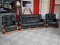 Кожаный комплект мягкой мебели 3+1+1, кожаный гарнитур
