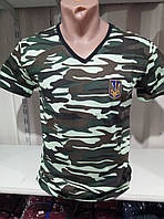 Мужская молодежная  футболка х/б с вырезом