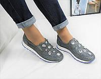 Женские стильные кроссы,декор камни,обувной текстиль,р,38,39,40