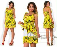 Платье-сарафан короткое с красными цветами  батал