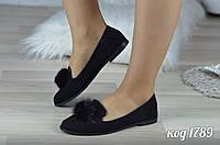 Женские замшевые балетки (туфли) черные с натуральным мехом
