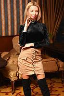 """Женская стильная короткая юбка """"Замш Шнуровка Мини"""" в расцветках (2203-9031)"""