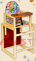 Детский стульчик для кормления трансформер  маленькая спинка Код 05772  (7)