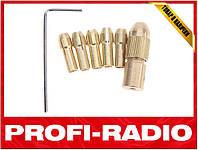 Цанговый патрон + 5 цанг. Вал 2,3 мм, ключ гравер, дрель