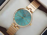 Женские кварцевые наручные часы Calvin Klein золотого цвета с бирюзовым циферблатом, на металлическом ремешке