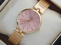 Женские кварцевые наручные часы Calvin Klein золотого цвета с розовым циферблатом, на металлическом ремешке, фото 1