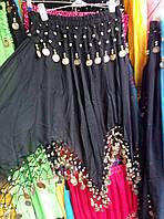 Женская черная юбка для восточных танцев с монетками