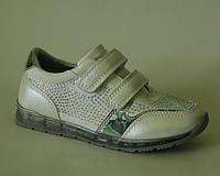 Стильные туфли для девочек с кожаной ортопедической стелькой белые р.26-31 на липучках