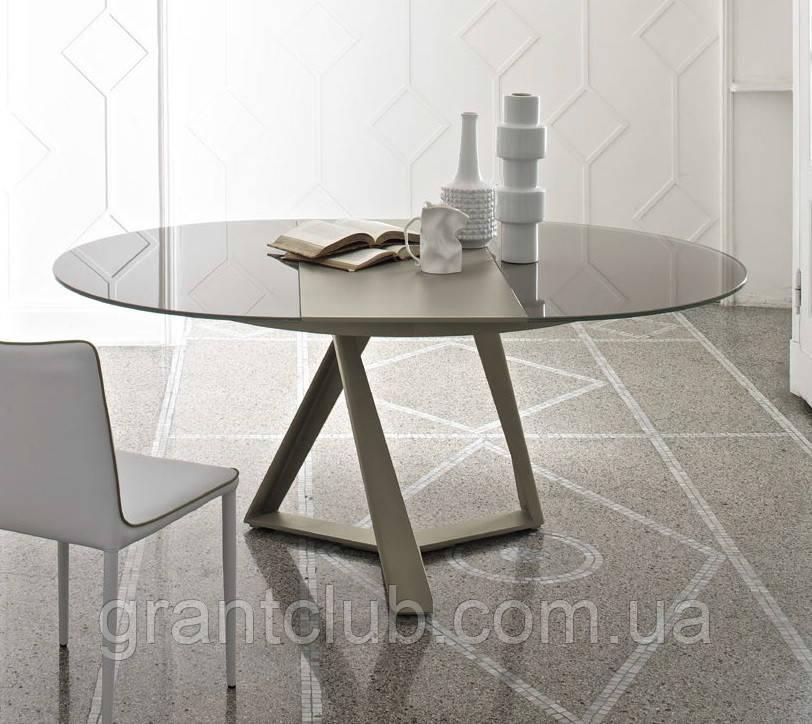 Круглий розкладний обідній скляний стіл MILLENNIUM 125/175 см фабрики BONTEMPІ (Італія)