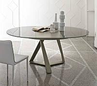 Круглый раскладной обеденный стеклянный стол MILLENNIUM 125/175 см фабрики BONTEMPI (Италия)
