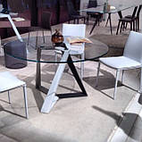 Круглий розкладний обідній скляний стіл MILLENNIUM 125/175 см фабрики BONTEMPІ (Італія), фото 4