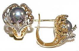 Серьги Xuping, позолота +родий . Камень: серебряный жемчуг. Высота серьги 1,6 см. ширина 16 мм.