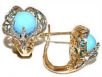 Серьги Xuping, позолота +родий . Камень: жемчуг покрытый голубой эмалью. Высота серьги 1,6 см. ширина 16 мм.