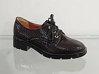 Стильные женские туфли на шнурках лак-кожа натуральная, фото 1