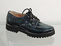 Стильные женские туфли на шнурках лак-кожа натуральная