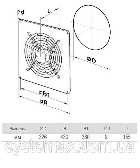 Размеры (параметры) вентилятора ВЕНТС ОВ 2Д 300