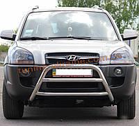 Защита переднего бампера кенгурятник из нержавейки на Hyundai Tucson 2004-2009