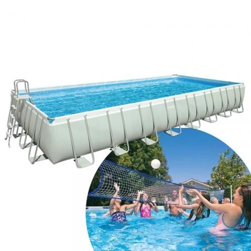 Бассейн Intex 28376 каркасный 975х488х132 ( хлорогенератор, скимер, волейбольная сетка и ..)