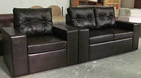 Комплект кожаной мягкой мебели, диван и кресло икупить в Украине
