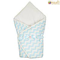Конверт-одеяло на выписку «Вернисаж » Omali (голубой зигзаг)