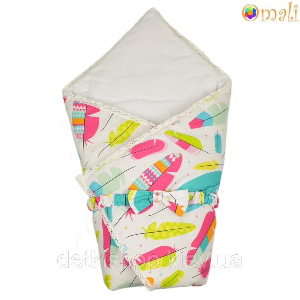 Конверт-одеяло на выписку «Вернисаж» Omali (пёрышки)