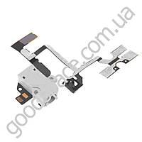 Шлейф для iPhone 4 с разъемом наушников (белый) и кнопками регулировки громкости