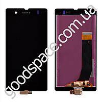 Дисплей Sony Xperia Z (C6602, C6603, C6606, L36i, L36h, L36a) с тачскрином в сборе, цвет черный, бол
