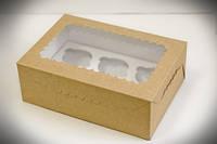 Коробка для капкейков крафт, с окошком, на 6 кексов. мелованный картон