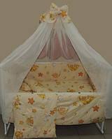"""Детское постельное белье в кроватку бежевое Тэдди в гамаке 9 в1 ТМ""""GOLD"""""""